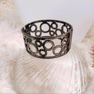 Vintage Geometric Gunmetal Tone Bangle Bracelet